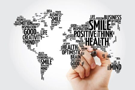 Positive thinking word cloud in shape of world map, creative concept background Zdjęcie Seryjne
