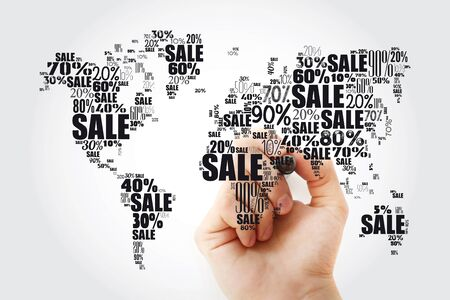 Sale text with percents in shape of World Map, word cloud business concept with marker