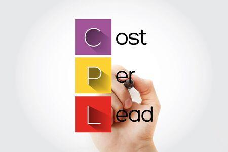 CPL - Cost Per Lead acronym, business concept background Stock fotó