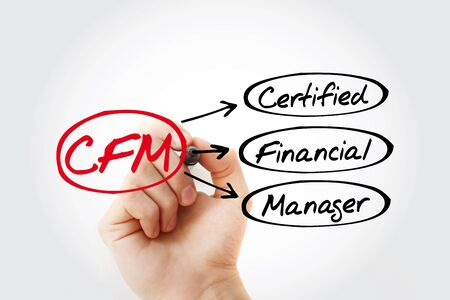 CFM - Certified Financial Manager acronym, business concept background 写真素材