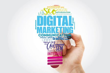 Digital Marketing bulb word cloud collage with marker, business concept background Stok Fotoğraf