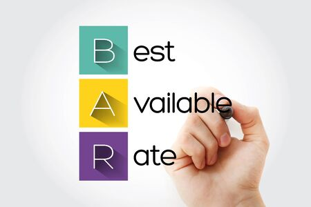 BAR - Best Available Rate acronym, business concept background