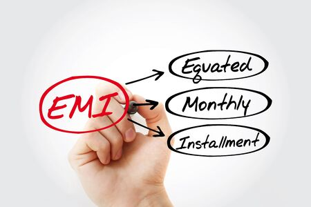 EMI - Equated Monthly Installment acronym with marker, business concept background