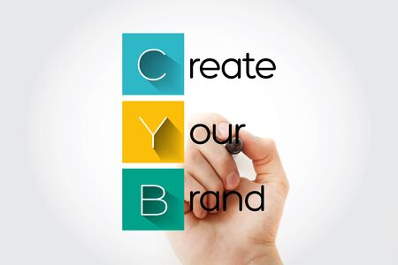 CYB - Create Your Brand acronym with marker, business concept background