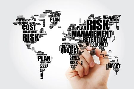 Risk Management word cloud in shape of World Map, business concept background Zdjęcie Seryjne