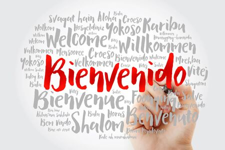 Bienvenido (Welcome in Spanish) word cloud with marker in different languages, conceptual background