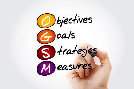 OGSM - Objectives, Goals, Strategies and Measures acronym, business concept background Фото со стока