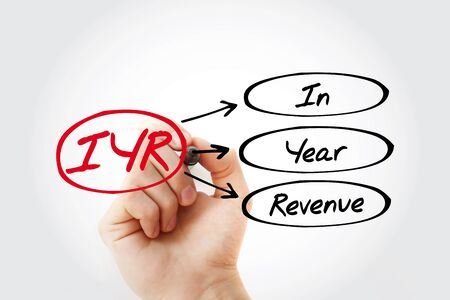 IYR - In Year Revenue acronym with marker, business concept background