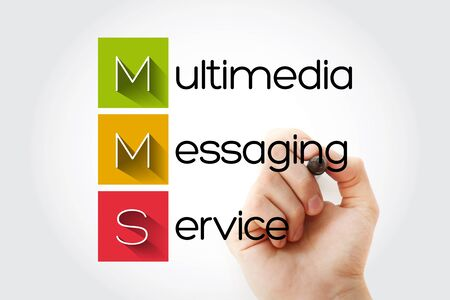 MMS - Multimedia Messaging Service acronym, business concept background