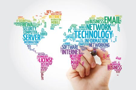 Technology word cloud in shape of world map, business concept background