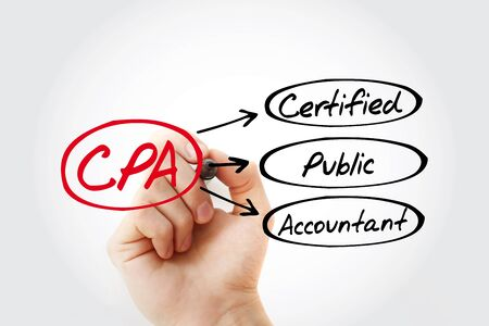 CPA - Certified Public Accountant acronym with marker, business concept background