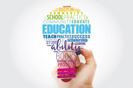 EDUCATION light bulb word cloud collage, concept background