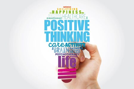 Positive thinking light bulb word cloud collage, health concept background