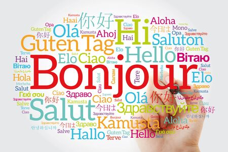 Bonjour (Hello Greeting in French) word cloud in different languages of the world with marker, background concept Foto de archivo
