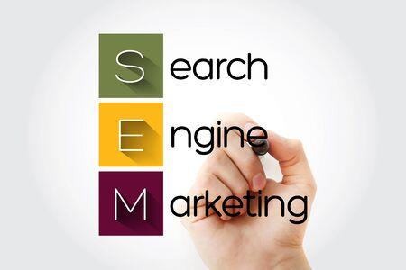 SEM - Search Engine Marketing acronym, business concept background