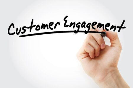 Customer engagement text with marker, concept background