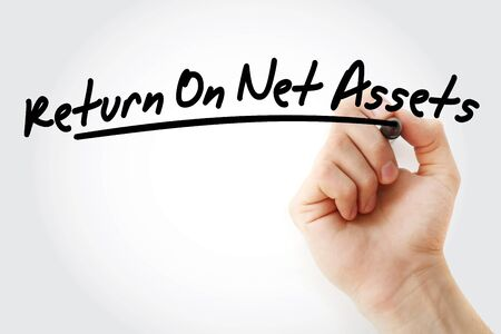 RONA - Return On Net Assets acronym with marker, business concept background