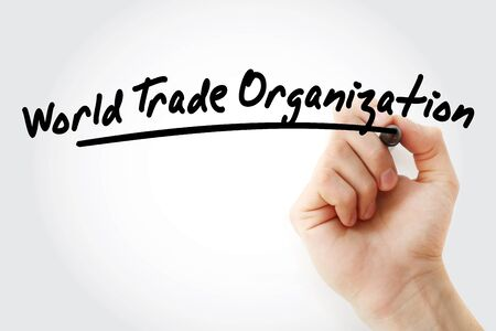 WTO - World Trade Organization acronym, business concept background