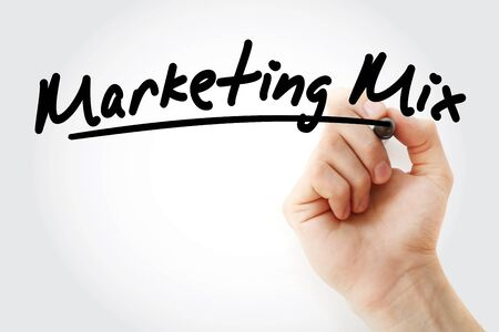 Hand writing Marketing mix with marker, concept background