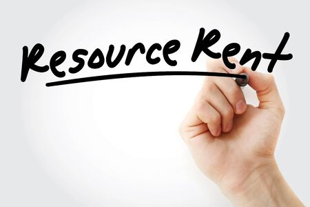 RR - Resource Rent acronym with marker, business concept background