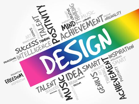 DESIGN word cloud collage, creative business concept background Ilustrace