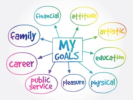 My Goals mind map business concept background Ilustracja