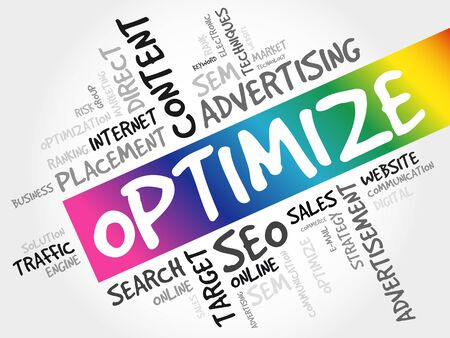 OPTIMIZE word cloud collage, business concept background