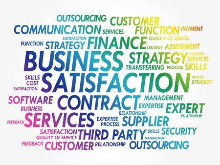 Business Satisfaction, business concept word cloud background Vektoros illusztráció