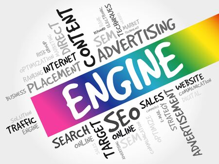 ENGINE word cloud collage, business concept background 向量圖像