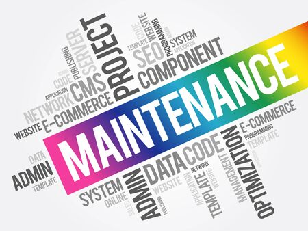 Maintenance word cloud collage, technology concept background