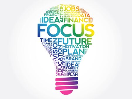 FOCUS bulb word cloud collage, business concept background