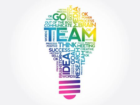 TEAM bulb word cloud, business concept background