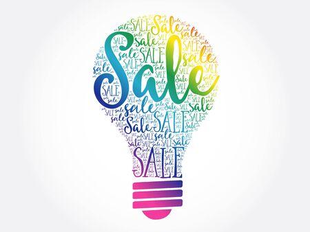 Sale bulb word cloud business concept