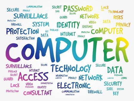COMPUTER word cloud collage, business concept background 向量圖像