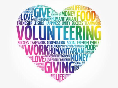 Volunteering word cloud, heart concept Vecteurs