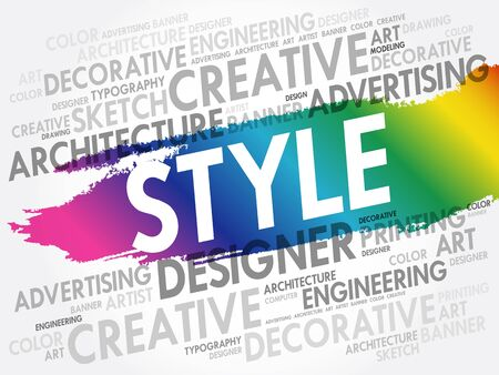 STYLE word cloud, creative business concept background Ilustrace