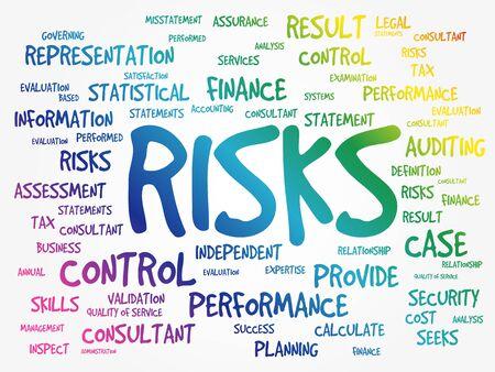 RISKS word cloud collage, business concept background Illustration