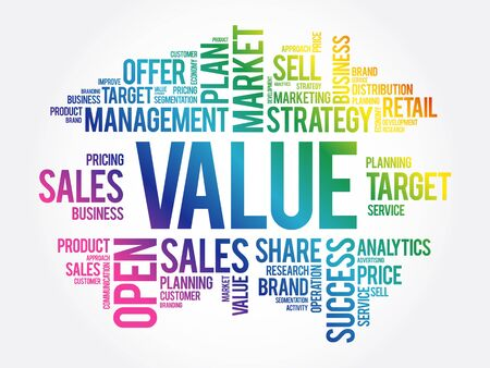 Value word cloud collage, business concept background