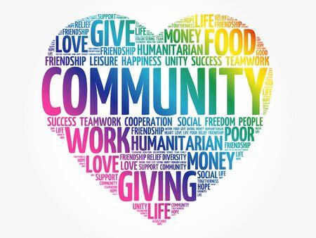 Community word cloud, heart concept Vettoriali