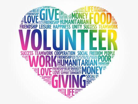 Collage de nuage de mots bénévoles, arrière-plan de concept social