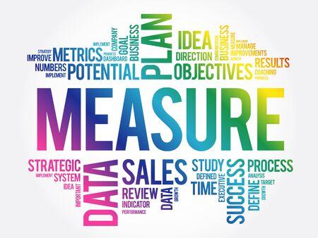 Measure word cloud collage, business concept background Ilustração