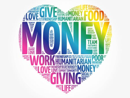 MONEY heart word cloud collage, concept background 向量圖像