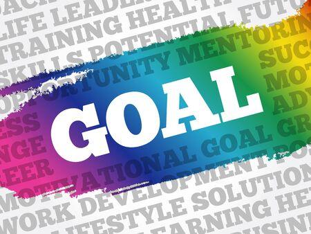 Goal word cloud, business concept Ilustracja