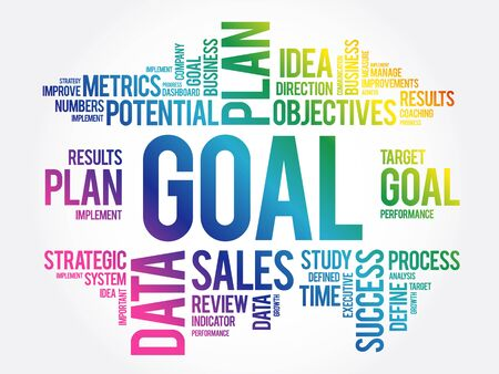 GOAL word cloud collage, business concept background Ilustracja