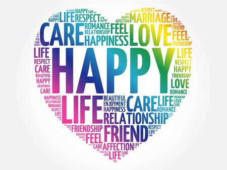 Happy word cloud collage, heart concept background