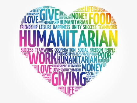 Humanitarian word cloud, heart concept 向量圖像