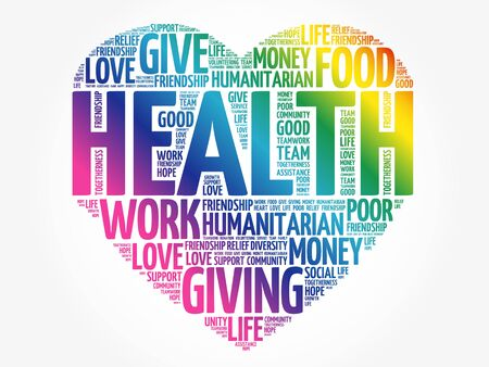 HEALTH heart word cloud collage, concept background 向量圖像