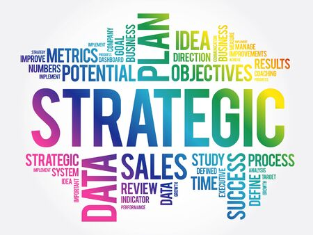Strategic word cloud, business concept background