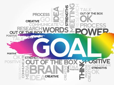 GOAL. Word business collage, concept background