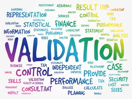 VALIDATION word cloud collage, business concept background  向量圖像